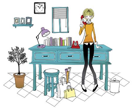 female likeness: Woman using landline phone at office Illustration