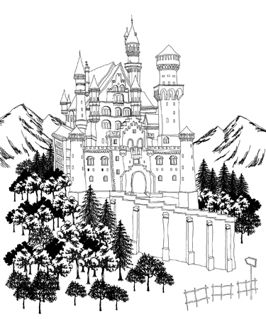 Palace by mountains