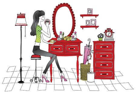 Frau, die den Spiegel, kompakt anwendend untersucht Standard-Bild - 78760410