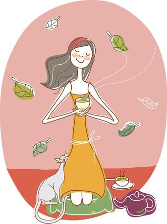 female likeness: Woman holding bowl Illustration