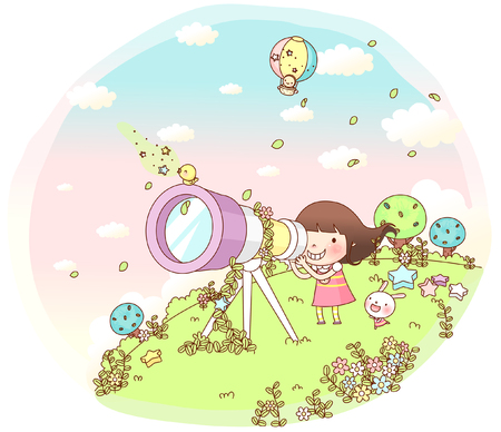 looking through an object: Girl looking through telescope