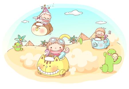 Friends racing in desert Illustration