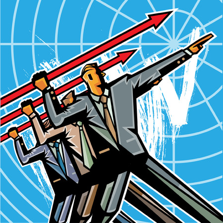 Business people throwing arrow sign Illustration