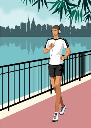Portrait of man jogging, wearing headphones Illustration
