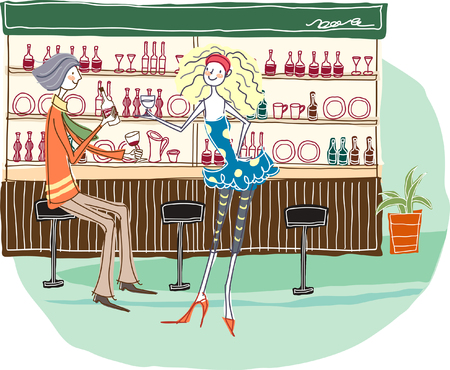 Couple sitting by bar counter Illustration