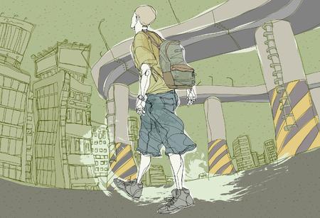 Young man walking on street