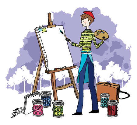 paint can: Side view of young man painting