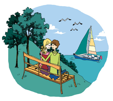 Man and woman sitting on bench by sea
