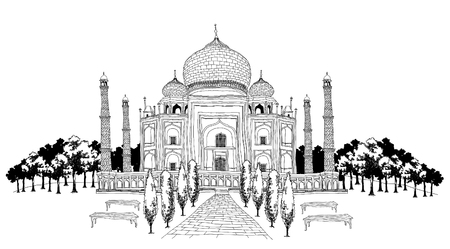 Pathway by Taj Mahal Illustration