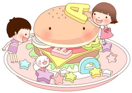 Friends arranging alphabets on burger