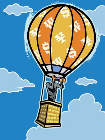 Man in Hot-Air Balloon looking through binocular