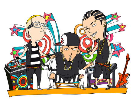 People with musical instruments at party Illustration