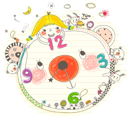 Girl playing with clock Illustration