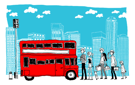Commuters waiting at bus stop Illustration
