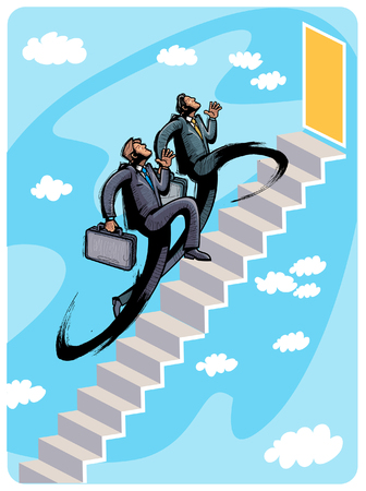 Business people climbing steps Illustration