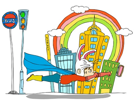 Superhero flying with buildings in background Illustration