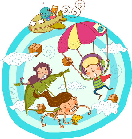 Illustration depicting person parachuting, airplane and monkey in sky
