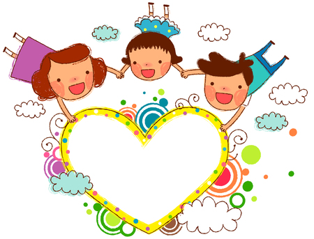 Friends holding heart Ilustração