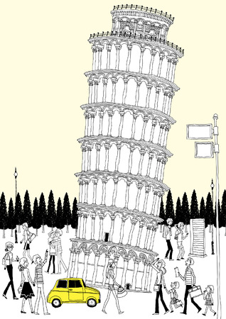 ancient civilization: Tourists by leaning tower