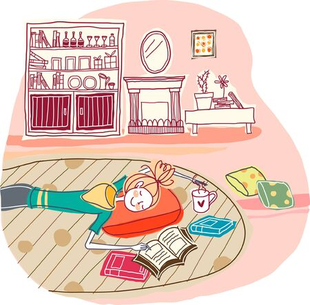 Woman lying on floor Illustration