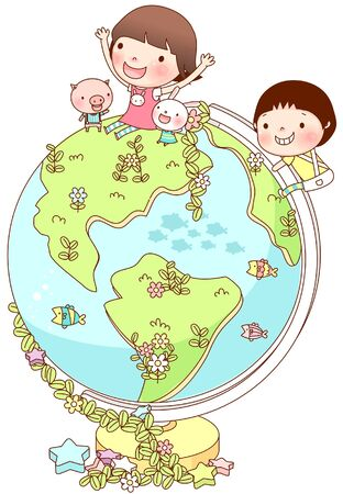 on top of the world: Friends enjoying on globe