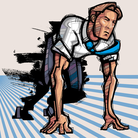 emotional stress: Businessman ready to run a race