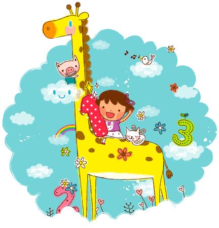 Girl riding on giraffe