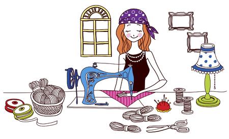 female likeness: Woman sewing fabric