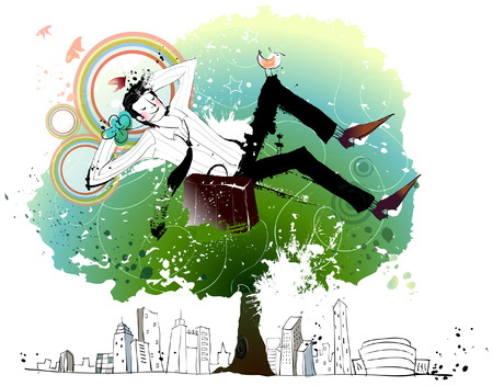 exhaustion: Businessman relaxing on tree Illustration