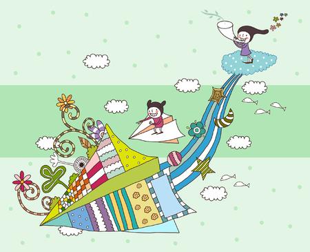 凧で遊ぶ子どもたち  イラスト・ベクター素材