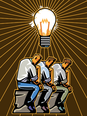 Side view of business people sitting in front of light bulb