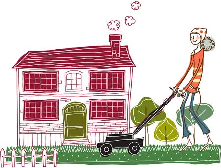 female likeness: Woman mowing lawn
