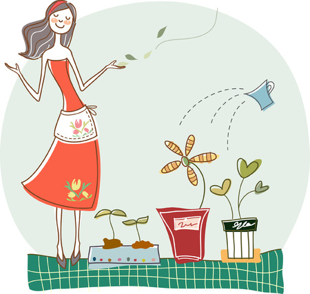 plant stand: Woman standing by potted plants
