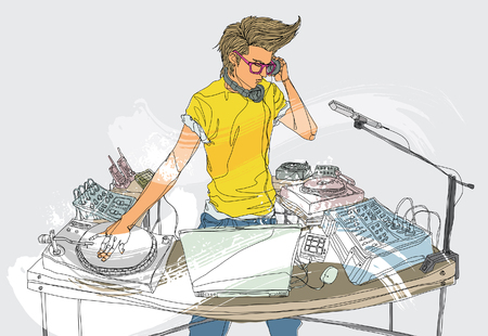 Disc jockey Spinning Records Illustration