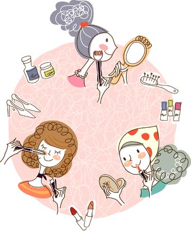 female likeness: Woman applying make-up