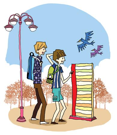 少年と街灯が立っている女の子の側面図