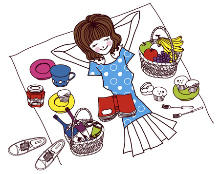 Woman relaxing by muffins, wicker baskets and fruit