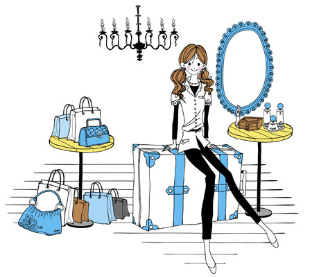 full length mirror: Woman sitting on suitcase Illustration