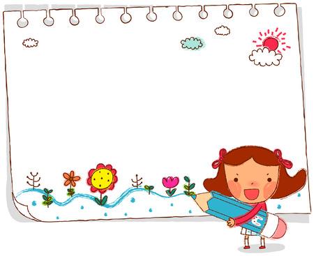 Girl drawing with pencil on spiral calendar Ilustração
