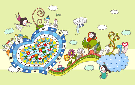 Children playing by heart shape road Illustration