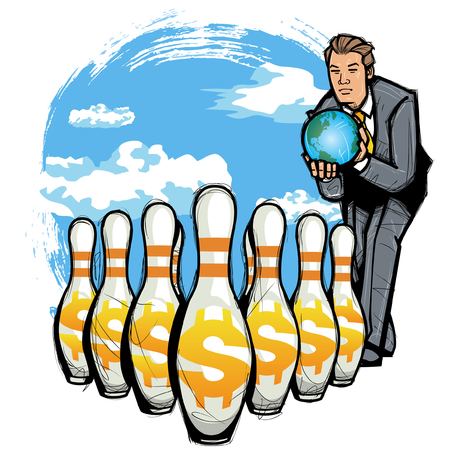 businessman carrying a globe: Businessman throwing globe on dollar sign of bowling Ball