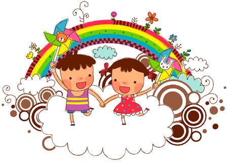 Friends holding pinwheel with rainbow in background Ilustração