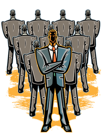 Business people standing back to back Illustration