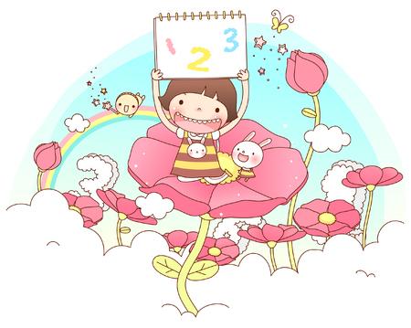 female likeness: Girl holding calendar on flower