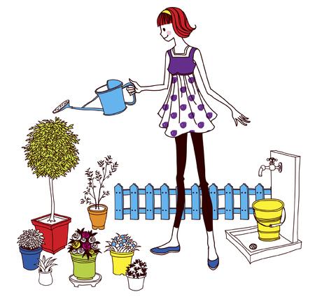 Femme arrosage des plantes Banque d'images - 78761196