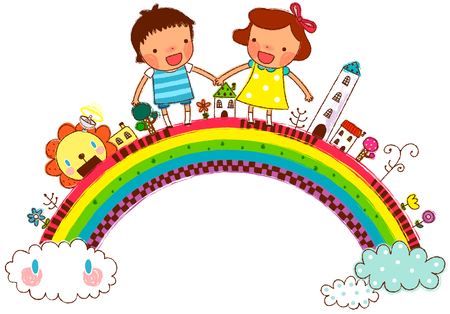 Friends holding hands and standing on rainbow