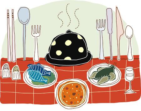 indulgence: Illustration of foodstuff with crockery Illustration