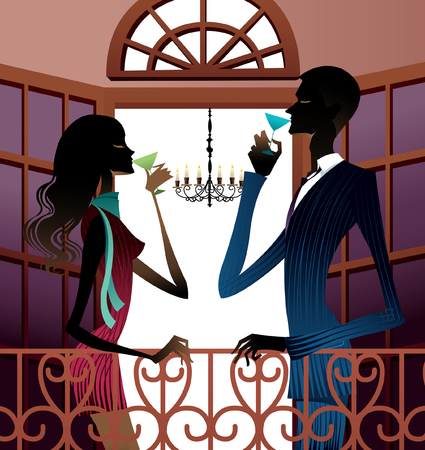 Side view of couple holding wineglass by railing Illustration