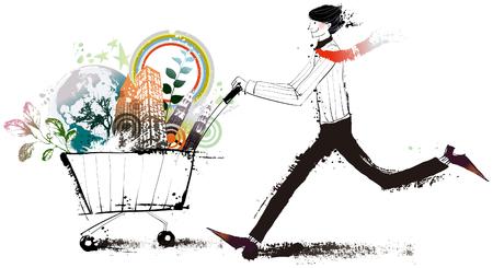 Man holding shopping cart