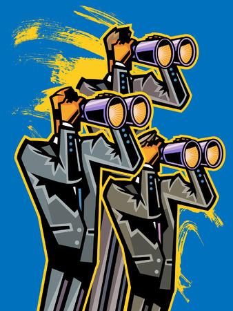 Business people looking through binoculars